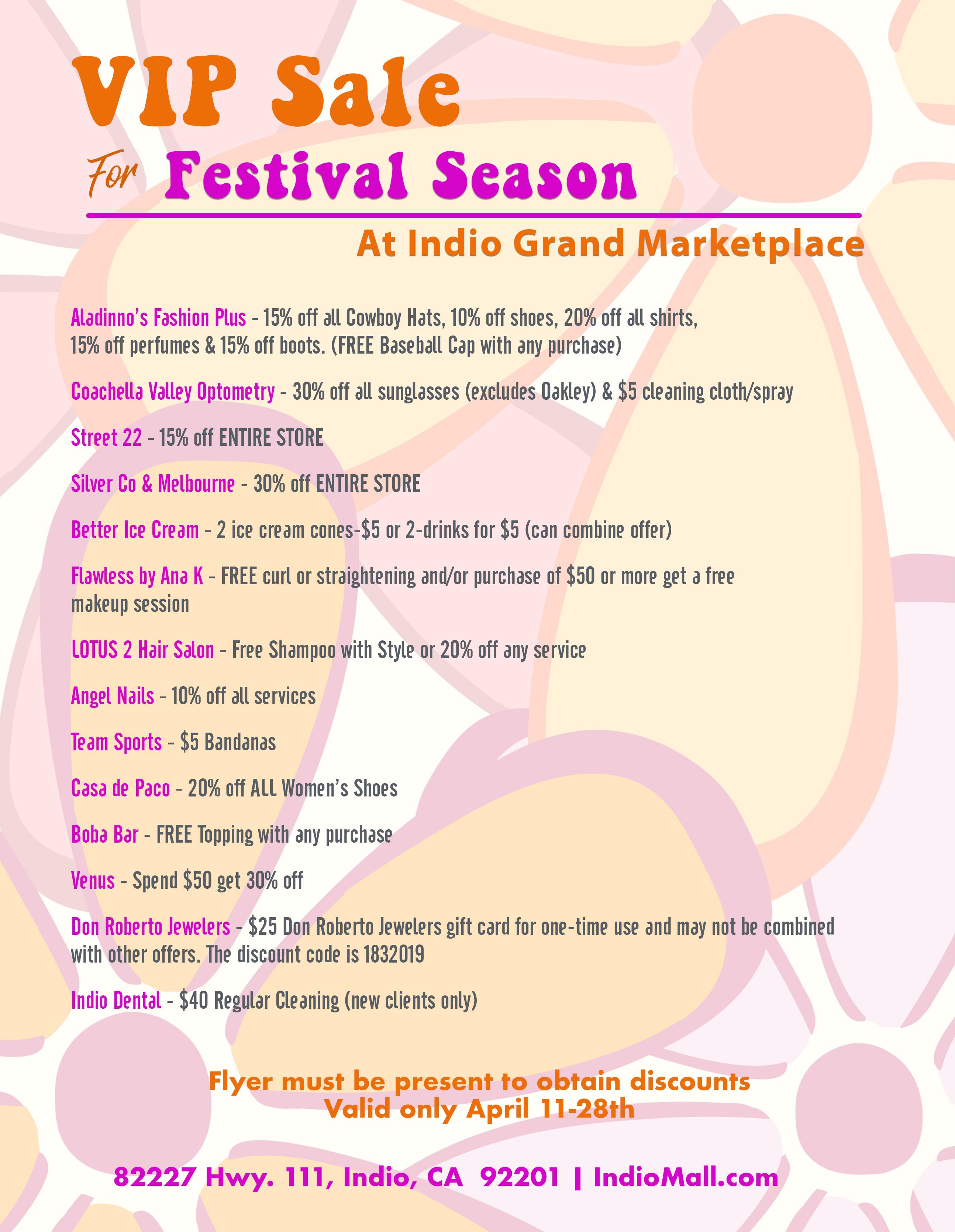 VIP Sale for Festival Season at IGM   Indio Grand Marketplace
