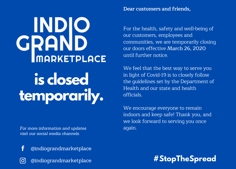 Indio Grand Marketplace is Temporarily Closed